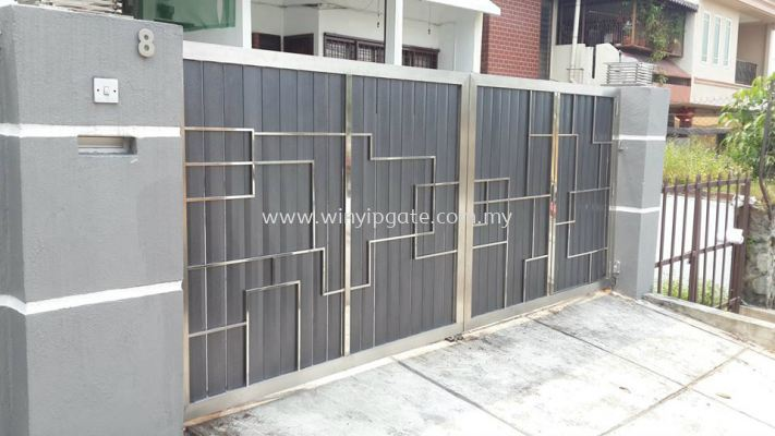 Stainless Steel Swam Main Gate and Aluminum Wood Plate Size 14'-0