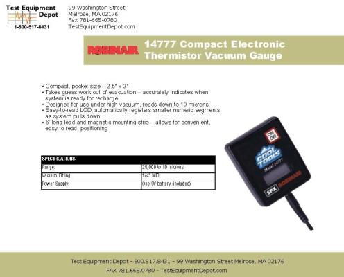 Robinair 14777 Thermistor Vacuum Gauge