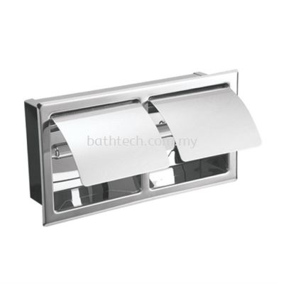 Commercial Double Semi-Recessed Toilet Roll Holder With Cover (Horizontal) (100128)