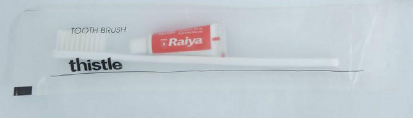 Toothbrush & Toothpaste in Matt Plastic Bag w/Logo
