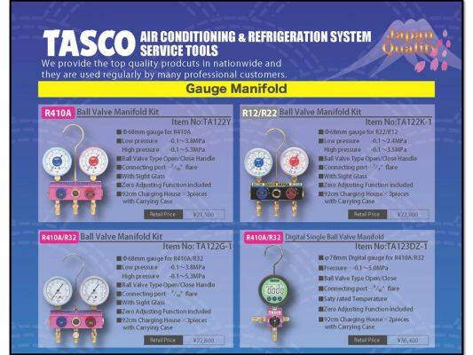 TASCO Manifold Gauge Set Product Range