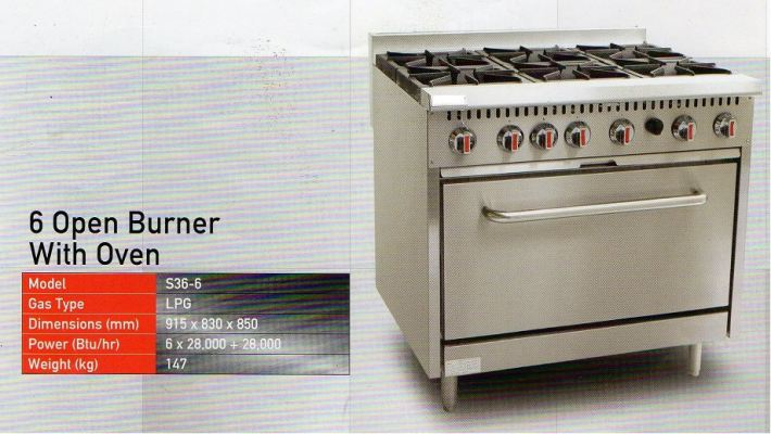 6 Open Burner with Oven