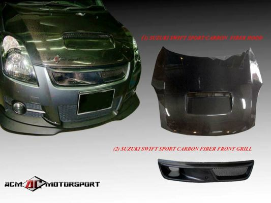 Suzuki Swift Carbon Fiber Hood and Front Grill
