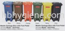 120-Pedal & 240-Pedal (120lit & 240lit Mobile Garbage Bins with Foot Pedal Bins) Outdoor Garbage Bin Waste Bins