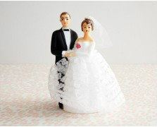 Vintage Wedding Bride and Groom Cake Topper