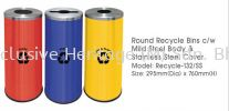 Recycle-132SS STAINLESS STEEL ROUND RECYCLE BINS Mild Steel Powder Coating Recycle Bin