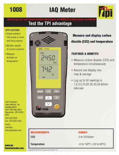 TPI-1008A CO2 AND TEMPERATURE IAQ METER, STORES UP TO TO 50 REDINGS