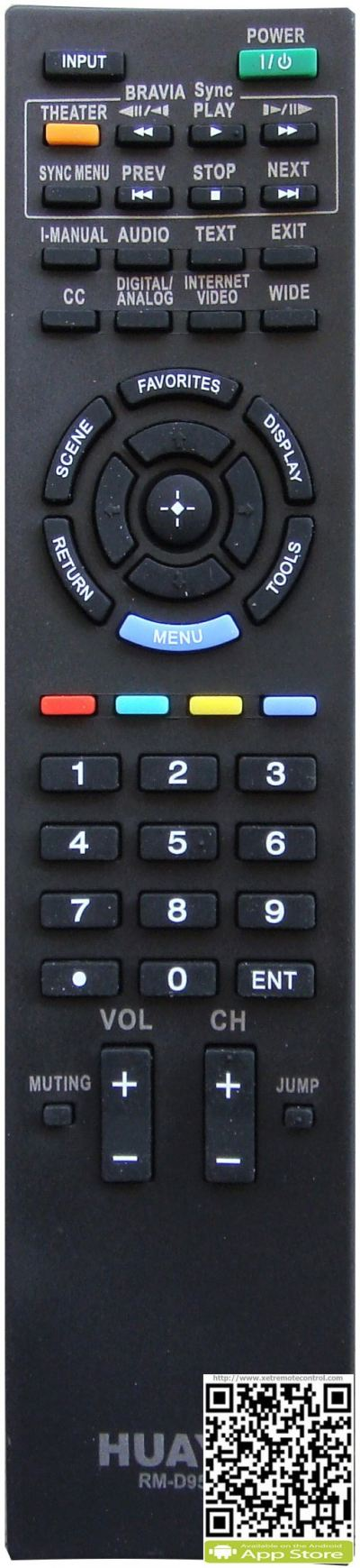 RM-D998 SONY LCD/LED TV REMOTE CONTROL