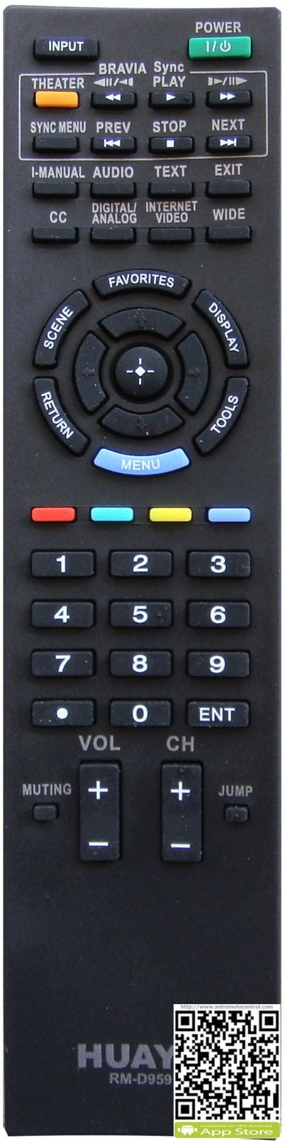 RM-D959 SONY LCD/LED TV REMOTE CONTROL