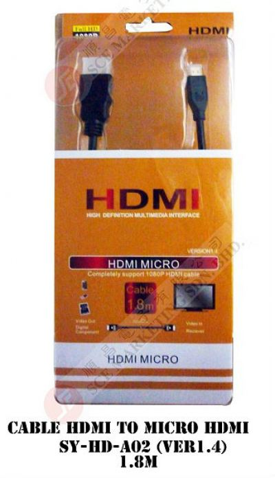 HDMI CABLE TO MICRO HDMI SY-HD-A02(VER1.4) 1.8M