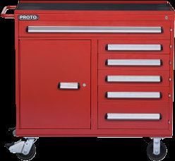 "PROTO® 460 SERIES 45"" WORKSTATION - 6 DRAWER & 1 SHELF, RED Roller Cabinet Tool Storage"
