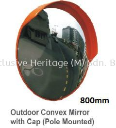 Outdoor Convex Mirror With Cap (Pole Mounted) 800mm