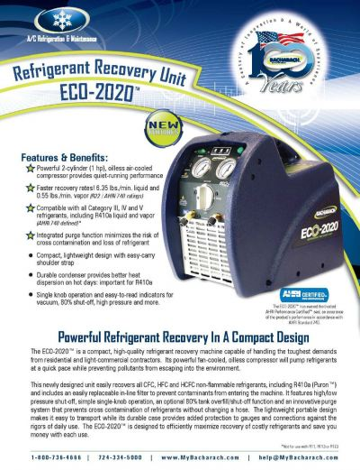 2020-8007 Bacharach ECO-2020 Refrigerant Recovery Unit c/w 80% Shut Off