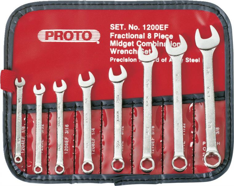 PROTO - 8 PIECE SHORT SATIN COMBINATION WRENCH SET - 6 POINT Spanners and Wrenches Pipe and Tubing tools