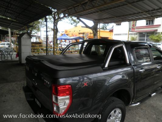 FORD RANGER T6 TOP UP WITH USE BACK ORIGINAL ROLL BAR, MAT BLACK COLOR WITH EASY DISMANTLE SYSTEM