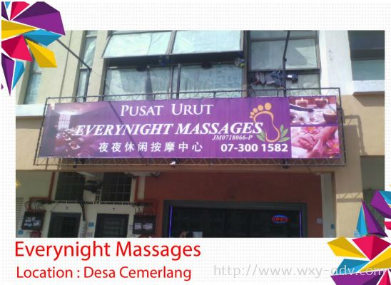 Everynight Massages Zig Zag Tarpaulin Signboard
