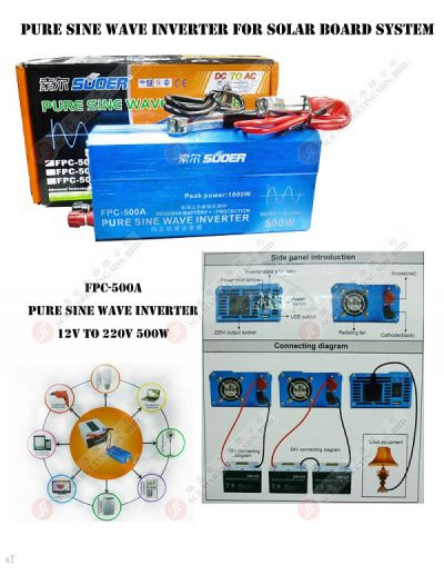 PURE SINE WAVE INVERTER FPC-500A SOLAR BOARD SYSTEM