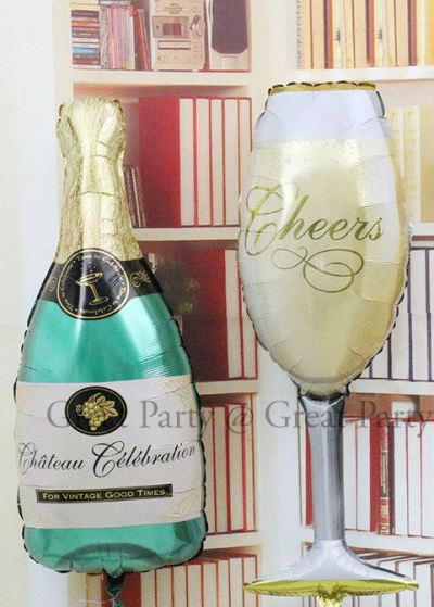 Champagne and Glass Shape Balloons (1pcs)