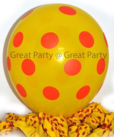 Dark Yellow Balloon Red Polka Dot (10pcs)
