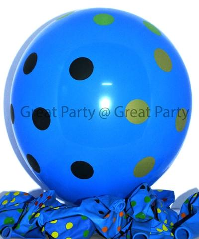 Dark Blue Balloon Mix Polka Dot (10pcs)