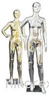 37754-F01-GOLD & SILVER FEMALE MANNEQUIN Female Abstract Plastic Mannequin