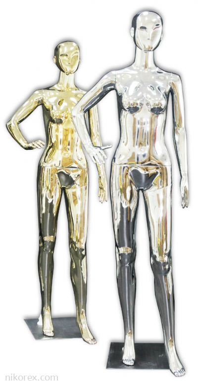 37754-F01-GOLD & SILVER FEMALE MANNEQUIN