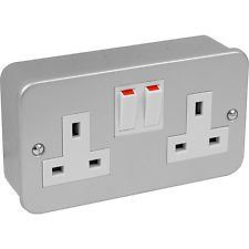 Metal Socket 2 x Gang