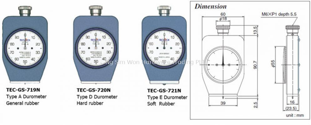 Durometers for hardness test of Rubber