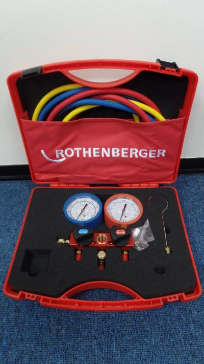 ROTHENBERGER A1706.51 MANIFOLD GAUGE C/W 5FT HOSE (ALU C/W S/GLASS, 80MM GAUGE - R22, R134 & R410A)