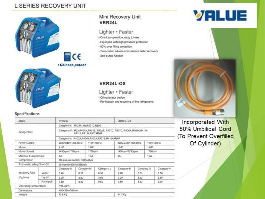 VALUE VRR24L-OS-R32 (1 HP) Refrigerant Recovery Station C/W 80% Shut Off And Oil Separator