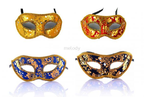 Venice Shiny Flower Sequin Half Mask -2014 0203