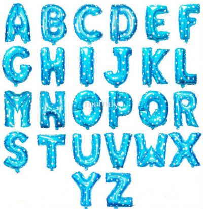 Foil Balloon / Alphabet / Blue with Star Pattern - 2116 0102