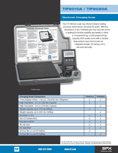 TIF MANUAL ELECTRONIC CHARGING SCALE