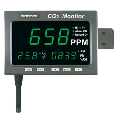 TENMARS TM-186/TM-187 LARGE LED SCREEN CO2/TEMP/RH MONITOR