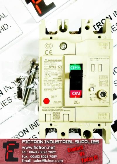 NV63-CV 3P 20A 100-440VAC 30mA MITSUBISHI ELECTRIC Contactor Supply Malaysia Singapore Thailand Indonesia Europe & USA