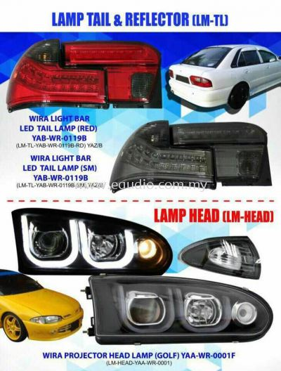 Proton Wira Projector Headlamp With Light Bar And LED Light Bar Tail Lamp