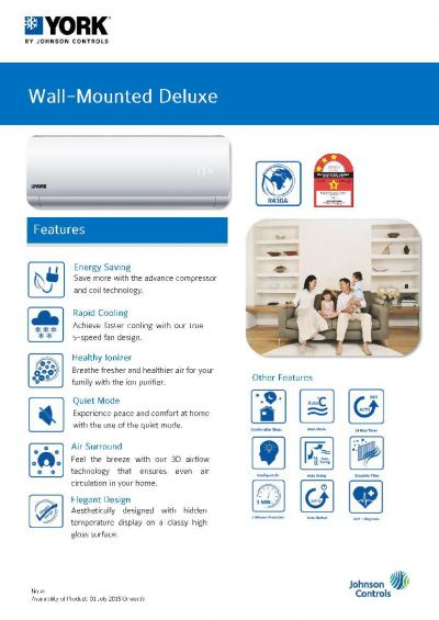 YORK Wall-Mounted Deluxe Air-Conditioner [3 Star] Non-Inverter (R410A)