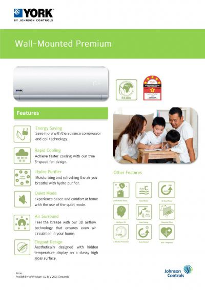 YORK Wall-Mounted Premium Air-Conditioner [5 Star] Non-Inverter (R410A)
