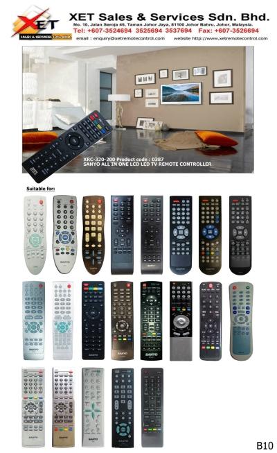 XRC-320-200 三洋万能综合型LED/LCD电视遥控器