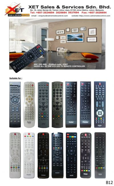 XRC-350-800 HAIER UNIVERSAL ALL IN 1 LCD/LED TV REMOTE CONTROL