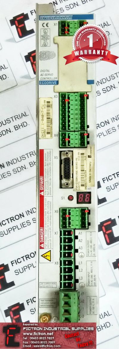 DKC11.1-040-7-FW INDRAMAT Digital AC Servo Controller Repair Service Malaysia Singapore Indonesia