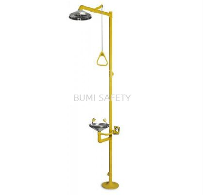 S/Steel Bowl Combination Emergency Shower & Eyewash with Foot Pedal