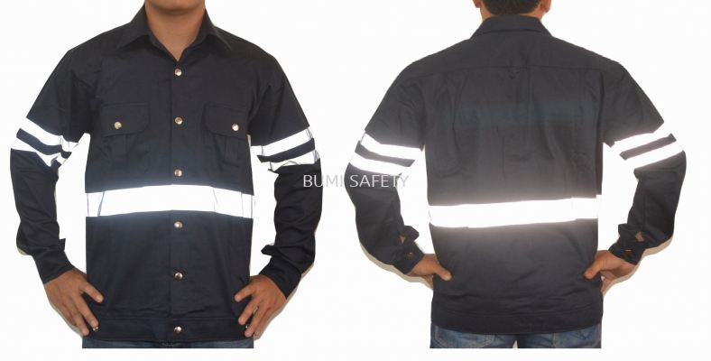 SAFETY JACKET BUTTON NAVY BLUE