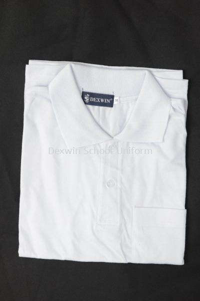 WHITE T-SHIRT - WT27-S WHITE T-SHIRT COLLAR SHORT SLEEVE