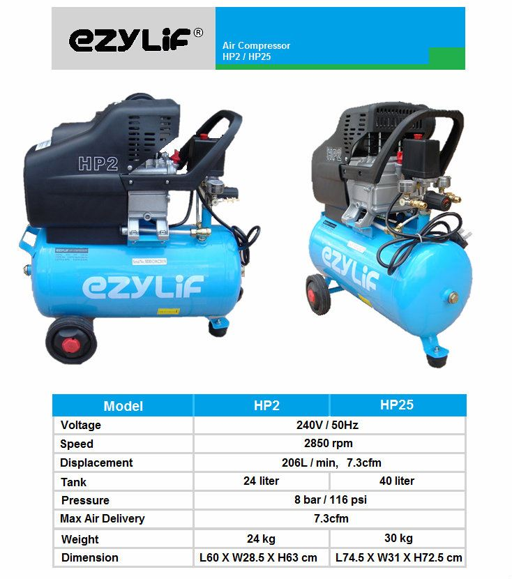 Ezylif Portable Air Compressor 2 5hp 40l Air Compressor