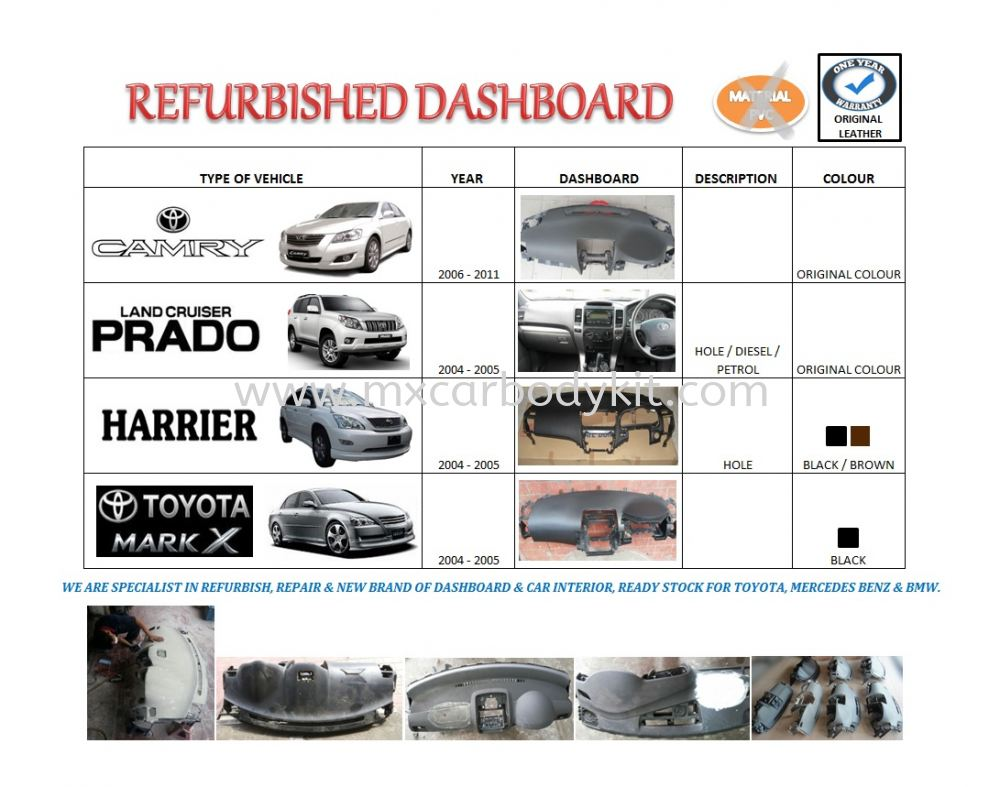 Car interior malaysia - We Are Specialist In Refurbish Repair New Brand Of Dashboard Car Interior Ready Stock For Toyota Mercedes Benz Bmw