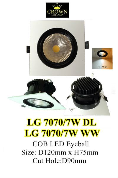 CROWN LED COB 7W D90MM SQUARE EYE BALL