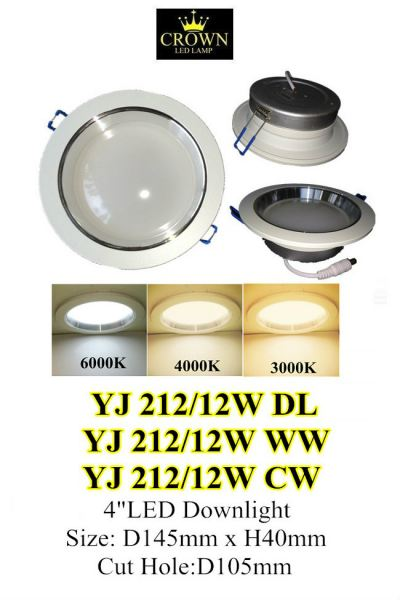 """CROWN LED 4"""" 12W D105MM ROUND DOWNLIGHT"""