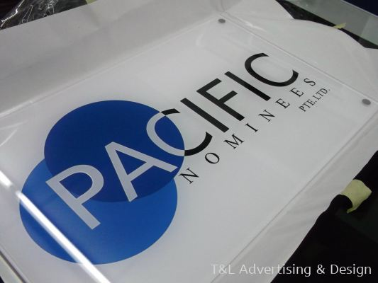 Pacific 5mm clear acrylic bevel edge reversed sticker