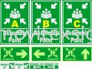 Assembly point area/in board or 3M Vinyl or Night Glow Sticker Safety Sign Sample Industry Safety Sign and Symbols Image
